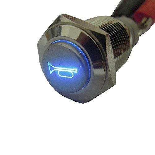 E Support&Trade; KFZ Auto Boot Kippschalter Druckschalter Schalter Drucktaster Druckknopf 12V Blau LED Licht Metall Lautsprecher Horn