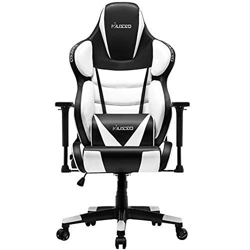 Musso Contoured Gaming Chair Adults Racing Computer Gamer Chair with Fully Foam, Esports Video Game Chair, PU Leather Executive Office Chair with Lumbar Support (White) chair gaming white