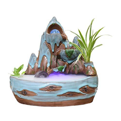 QTBH Fuente de Mesa Cascada de meditación Cubierta de cerámica de montaña Fuente de Piedra 3 Capas Cascada Bola giratoria Escritorio Fuente decoración Decorativo Fuente de relajación Cascada Inter