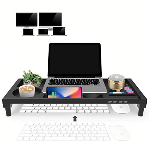 Monitor Stand Riser Rotatable Computer Monitor Stand Laptop Height Stand USB Charging Storage Plastic Shelf Desk Monitor Stand