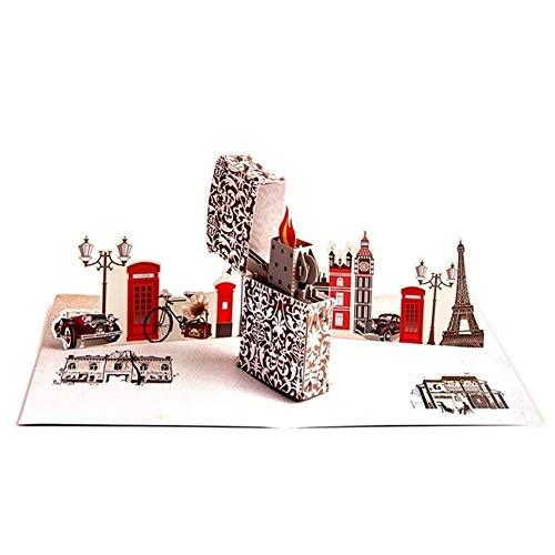 YOUTHLIKEWATER 5 stks Kleurrijk afdrukken 3D pop up Aansteker wenskaart laser gesneden matrijzen envelop ansichtkaart hol gesneden handgemaakte kirigami geschenken