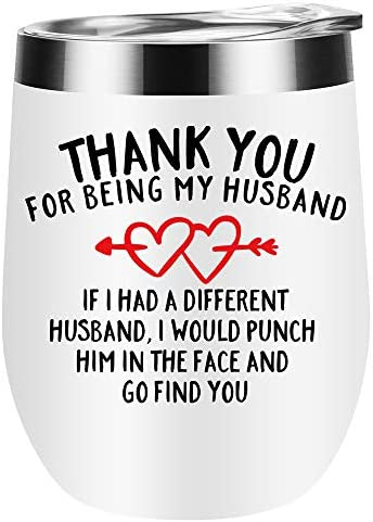 Gifts for husband Thanks for being my husband wine tumbler with lid romantic gifts for him soulmate product image