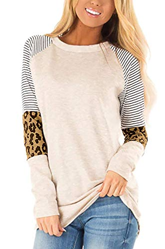 Odosalii Damen T-Shirt Rundhals Oberteil Damen Sommer Kurzarm Elegante Pullover Leoparden Splice Bluse Longshirt Tops (Khaki01, X-Large)