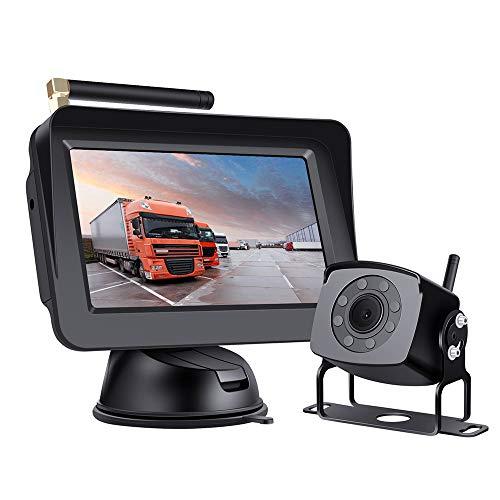 Kit De Cámara De Respaldo Inalámbrico Digital, Monitor De 5 '' con Imagen Estable, Cámara De Respaldo De Gran Angular De 170 °, para Automóvil, Recogida, Camión, Sedán, RV, SUV, MINITIANS