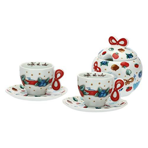 THUN ® - Set 2 Tazzine caffè e zuccheriera - Linea Chiaro di Luna - Porcellana - 100 ml - Ø Interno 6 cm - h 5 cm -zuccheriera Ø 9,5 cm - h 14 cm