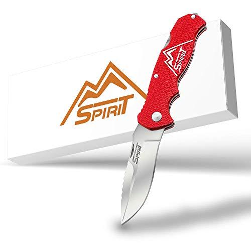 Outdoor Spirit® Zweihand Klappmesser 2 in 1 - Taschenmesser mit scharfer Edelstahlklinge 440C - Zweihandmesser mit Aluminiumgriff - Outdoor-Messer für Camping & Wandern (Rot)