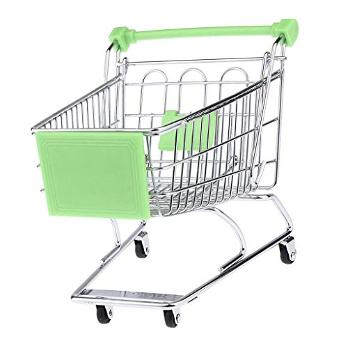 Mini Shopping Cart Miniature Supermarket Handcart Shopping Utility Cart Storage Toy for Kids - Green
