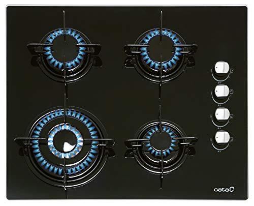 Cata 08041412 Gaskochfeld auf 8 mm schwarzem Glas mit seitlicher Steuerung, Wok-Brenner