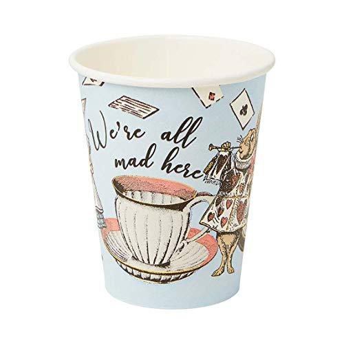 Paquete de 8 vasos de papel azules de Alicia en el país de las maravillas |Vajilla desechable, reciclable en casa |Suministros para Mad Hatter Tea Party, cumpleaños, meriendas, día de la madre