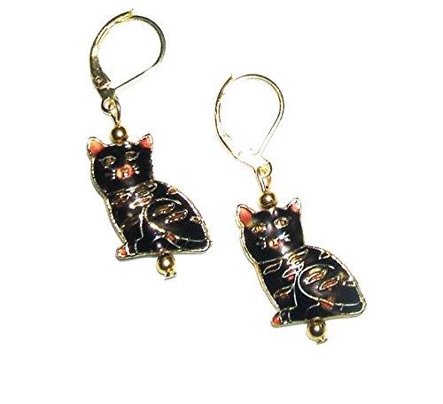 CAT CLOISONNE EARRINGS Gold Plts BLACK Kitty Drop Dangles