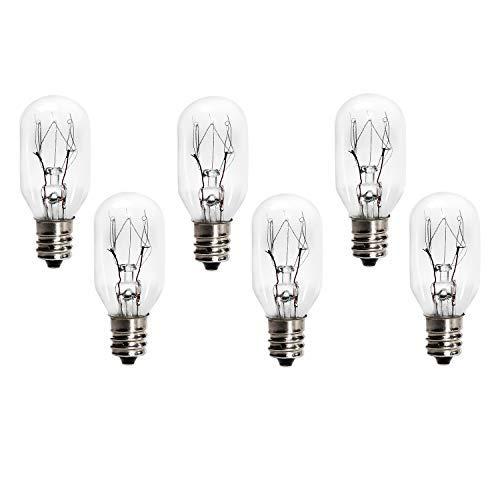 6 Pack 15 Watt E12 Socket Salt Lamp Bulbs,Replacement Incandescent Bulbs for Himalayan Salt Rock Lamps and Plug in Night Lights