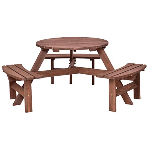 7DIPT 6-Person Patio Wood Picnic Table Beer Bench Set