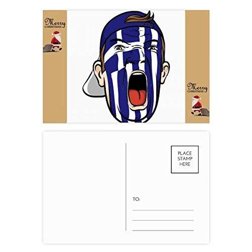 Maske, Motiv: griechische Flagge, Schreiende Kappe, Weihnachtsmann, Geschenk, Postkarte, Dankeskarte, 20 Stück