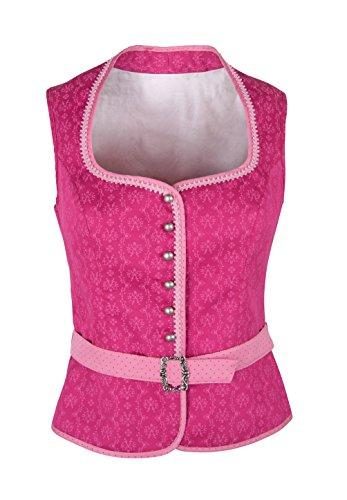 Ramona Lippert® - Damen Dirndl Bluse Nicole 40 Pink Corsage mit Schneewittchenkragen und Gürtelschnalle - Trachtenbluse - Blusen für Trachten z.B. zum Oktoberfest