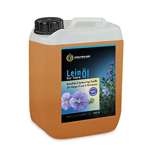 Kräuterland - Leinöl für Pferde 5L Kanister - 100% rein kaltgepresst aus erster Pressung direkt vom Hersteller