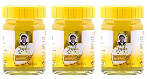Wang Prom Phlai (Zingiber Cassumunar) Yellow Herbal Balm 50g (Pack of 3)