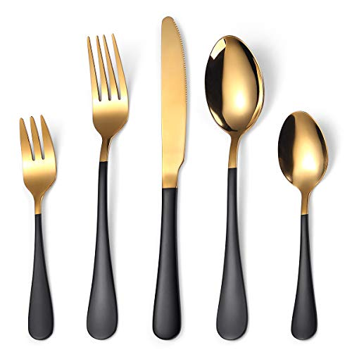 Ammonojo 20-Piece Gold Silverware Set, Stainless Steel Flatware/Cutlery/Tableware Set for 4,Include Knife/Fork/Spoon,Mirror Finish,Home Wedding Party,Dishwasher Safe (Titanium Black,Shiny Golden)