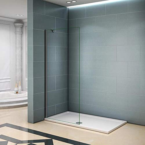 AICA paroi de douche 30x200cm paroi latérale à l'italienne en 8mm verre anticalcaire avec barre de fixation 450mm