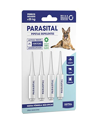 Zotal Parasital Blíster con 4 Pipetas de 5 ml para Perros Grandes - Total: 20 ml