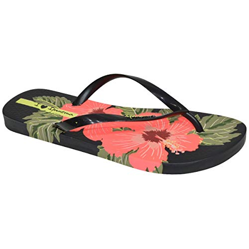 Ipanema love floral infradito estive da donna, realizzate in flexpand un materiale 100% vegano e reciclabile, ideali per spiaggia, pisciana e per le passeggaite estive - colore nero/rosa - 35/36