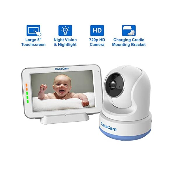 CasaCam BM200 Video Baby Monitor with 5″ Touchscreen and HD Pan & Tilt Camera, Two Way Audio, Lullabies, Nightlight, Automatic Night Vision and Temperature Monitoring