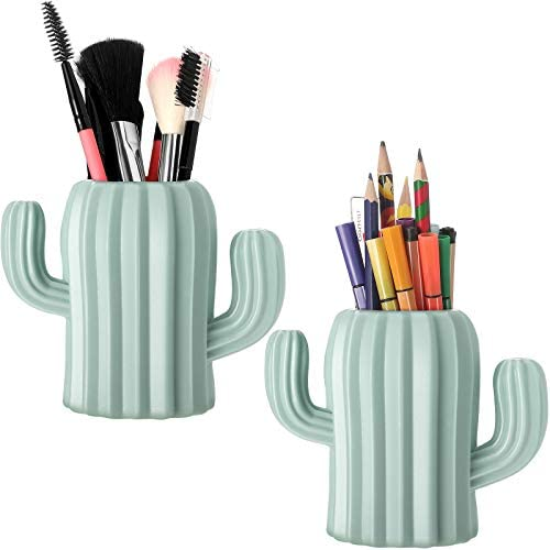 2 Pieces Cactus Pen Holder Cactus Pen Pencil Container Desktop Supplies Pen Cups Cosmetic Makeup product image