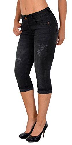 ESRA Damen Capri Jeans Hose Risse Kurze Jeans mit Blumenstickerei Hose Capri bis Übergröße J374
