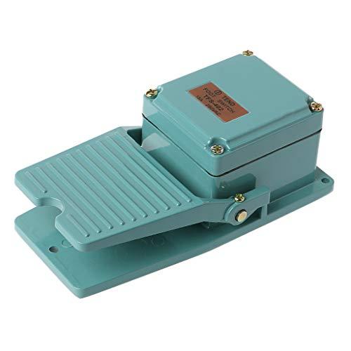 DROHOO AC 250V 15A Interruptor de Pedal Industrial Antideslizante momentáneo operado por pie, Verde