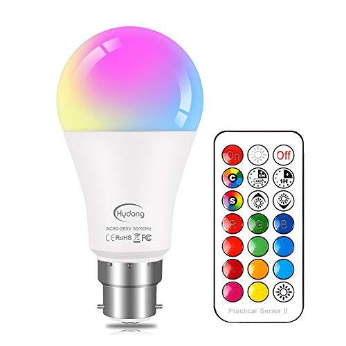 Bombillas de Colores RGBW LED Bombilla Regulable Cambia de color B22 10W, 12 Colour,con 21 llave Mando a Distancia,Función de Memoria Dual,para Decoración para el hogar Partido KTV Etapa Efecto luces