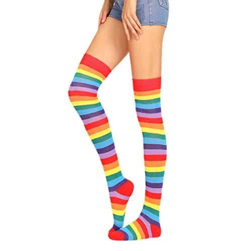 HELYZQ Meias longas, acima do joelho, listras, coloridas, de arco-íris, para Halloween e cosplay, de malha elástica na altura da coxa