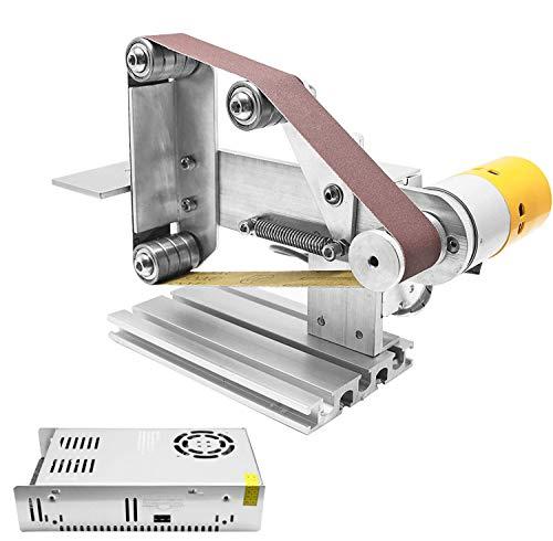 Huanyu Lijadora de Banda Mini Esmeriladora Eléctrica Micro DIY Amoladora con Regulación de Velocidad, 6ps de Cinturones de Arena (533 * 30mm)
