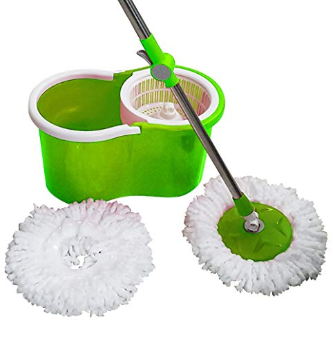 Freshome Magic Spin Mop with 1 Extra Microfiber Refill (Green)