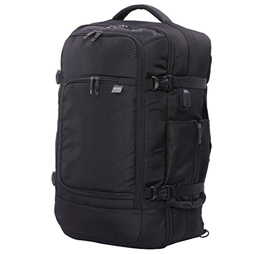 "Eono Essentials 55x35x20cm 39L Hand Cabin Luggage Backpack for up to 15.6"" Laptop Carry On Rucksack Holdall Travel Daypack Flight Bag 55x35x20 Black"