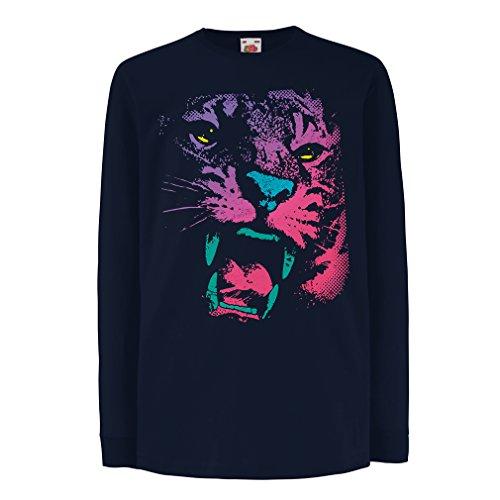 N4394D La Camiseta de los niños con Mangas largas ¡El Tigre! (14-15 Years Azul Multicolor)