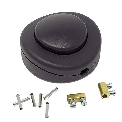 SET Fußtretschalter Schwarz + Aderendhülsen 0,75mm² + Anschlussklemmen f. 2G/3G Kabel 250V/2A Fußschalter Schnurzwischenschalter