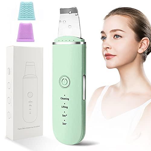 BelonLink Skin Scrubber, Limpiador Facial Ultrasónico, Peeling Facial con 4 Modos, USB Recargable, Exfoliación Facial Limpiador dePoros,para Limpieza Facial y Cuidado Facial (Verde)