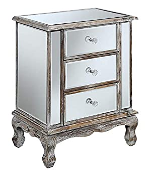 Convenience Concepts Gold Coast Vineyard 3 Drawer Mirrored End Table Weathered White / Mirror