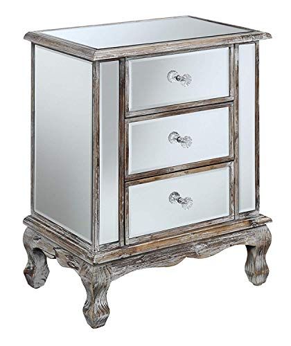 Convenience Concepts Gold Coast Vineyard 3 Drawer Mirrored End Table, Weathered White / Mirror