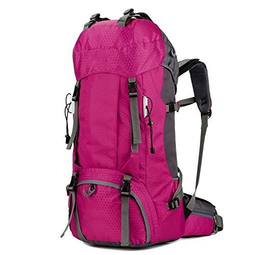 ZQINY 60L de Nylon al Aire Libre Bolsas Profesional morral del Alpinismo Impermeable del Bolso de la Capacidad Grande del Bolso del Deporte de la montaña de Tapa Blanda (Color : Rose)