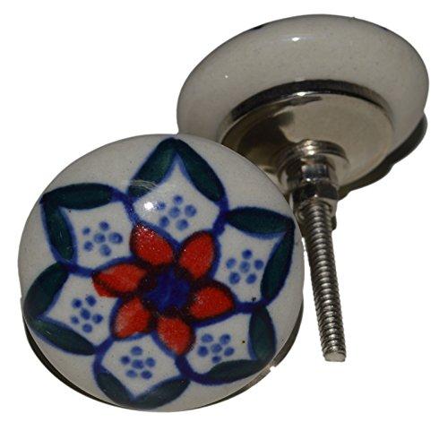 Meubelknoppen meubelknop meubelgreep keramiek porselein handgeschilderd vintage meubelknoppen voor kast Indisch 100 4 cm blauw