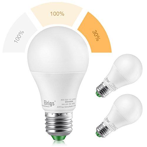 Bombilla de luz LED A60 E27 de 3 configuraciones Elrigs, 9W(6000K)-9W(3000K)-3W(3000K), 220...
