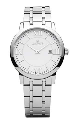 KRONOS - Elegance White 974.8.35 -Reloj de Caballero de Cuarzo, Brazalete de Acero, Color Esfera: Blanca