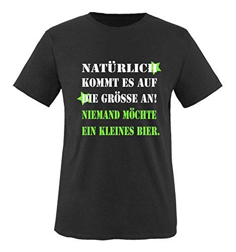 Comedy Shirts - Natürlich kommt es auf die Grösse an! Niemand möchte EIN kleines Bier. - Herren T-Shirt - Schwarz/Weiss-Neongrün Gr. L