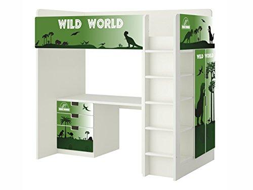 Dinosaurier Möbelfolie | SH22 | passend für die Kinderzimmer Hochbett-Kombination STUVA von IKEA | Klebe-Folie passgenau für Kommode (3 Fächer), Kleiderschrank, Front- und rechte Seitenfläche