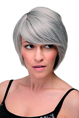 WIG ME UP - Perruque cheveux courts femme grise lisse frange raie côté env. 25cm 6082-51