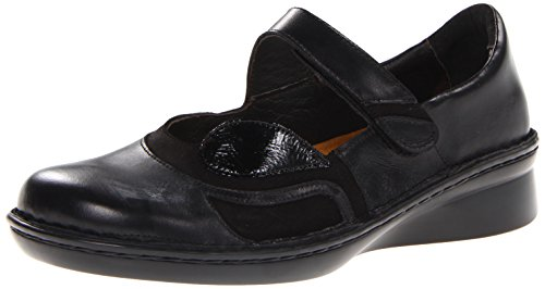 Naot Women's Conga Flat, Black Madras Leather/Black Velvet Nubuck/Black Patent Leather, 36 EU/5-5.5 M US