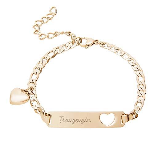 Gravado Armkettchen aus Gold-Edelstahl mit ausgestanztem Herzsymbol und Trauzeugin Gravur, Schmuck Geschenk zur Hochzeit, Damen Schmuck