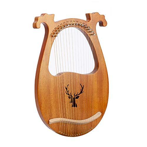 Portátil de viaje 16 Cuerdas ciervos en forma de lira arpa, arpa metal Cuerdas, Arpa Caoba lejía, Partido diseño cóncavo de madera maciza Gran regalo para los principiantes, amantes de la música,6