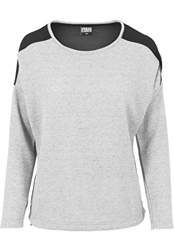 Urban Classics Damska bluza oversize szyfonowa Crew, wielobarwny (H.grey/Blk 591), L