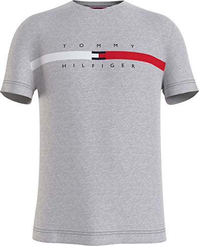 Tommy Hilfiger Global Stripe Chest tee Camiseta, Gris Medio, M para Hombre